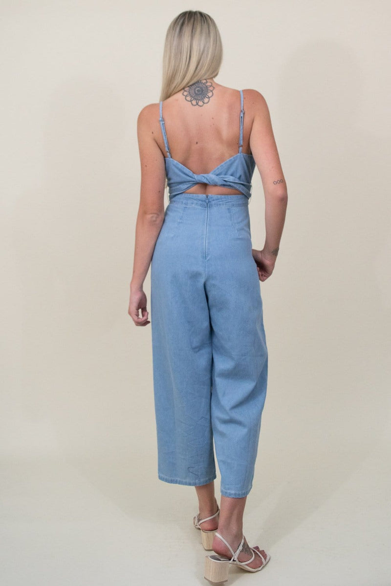 ASTR The Label Edie Jumpsuit in Light Wash Denim
