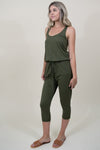 Bobi Rasor Back Drawstring Jumpsuit in Fatigues