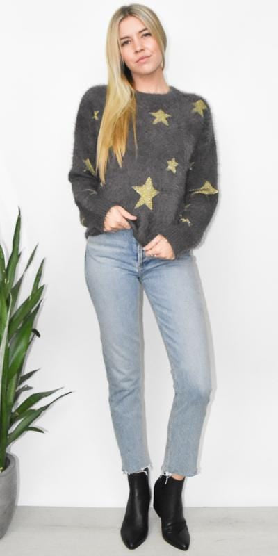 Show Me Your Mumu Cropped Varsity Sweater in Shine Star Knit
