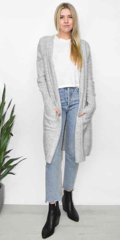 MINKPINK Saturdays Longline Cardi in Light Grey