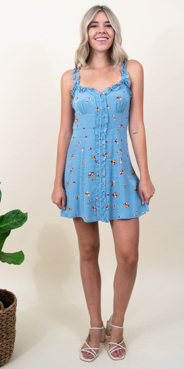 ASTR The Label Celia Dress in Sky Blue Pansy