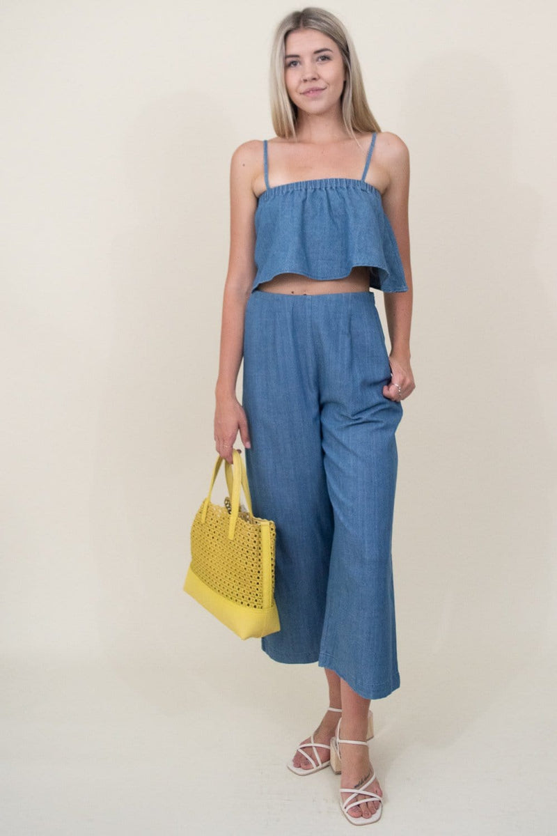 MINKPINK Keep It Casual Culotte Pant in Blue Denim | Wild Dove Boutique | San Diego, CA