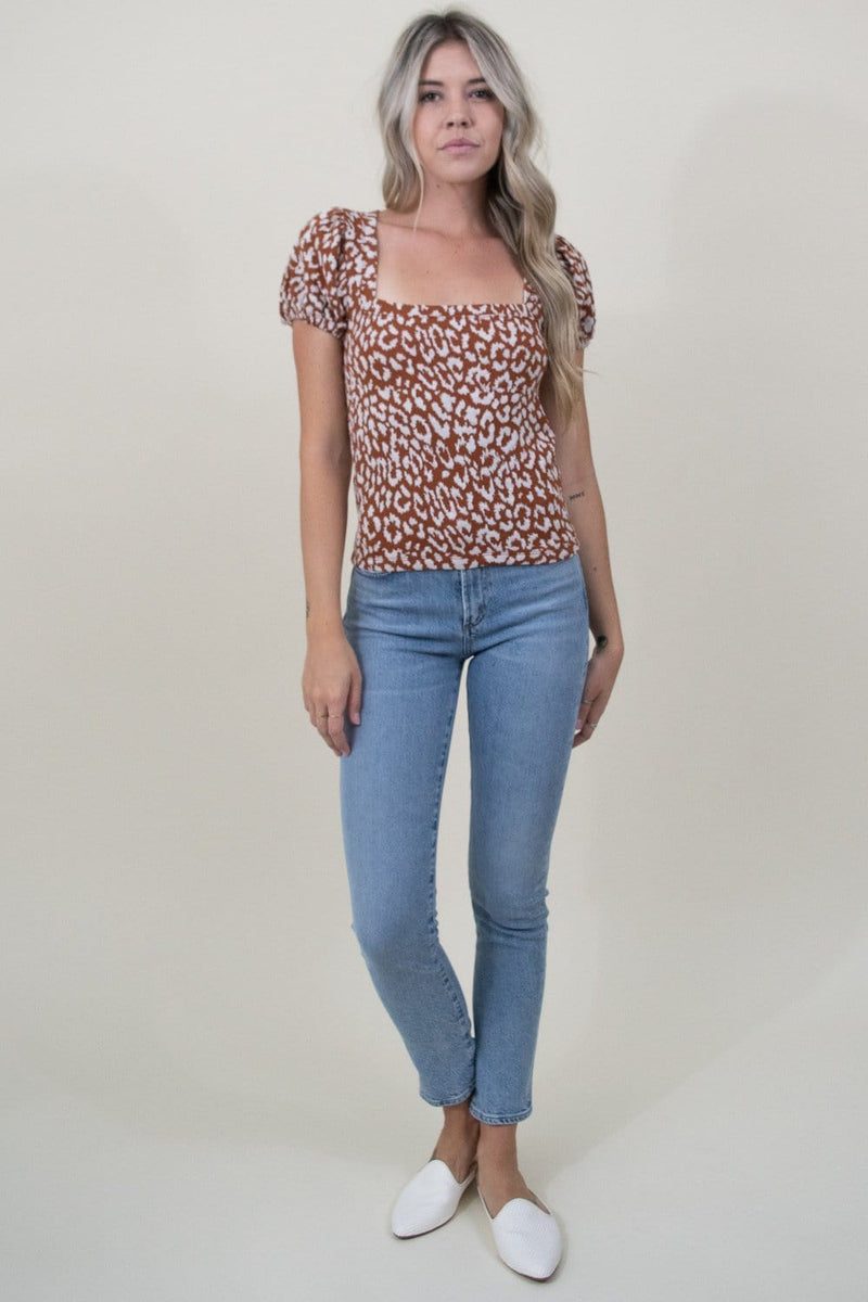 Free People No Type Tee in Brown Leopard
