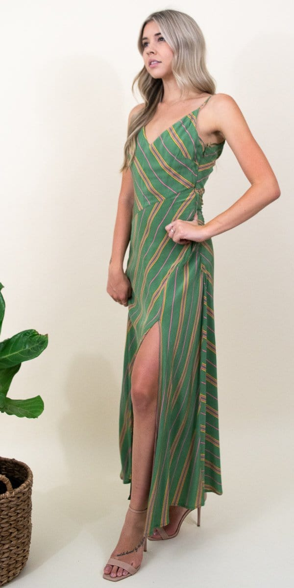 ASTR The Label Jessi Dress in Emerald Green Stripe
