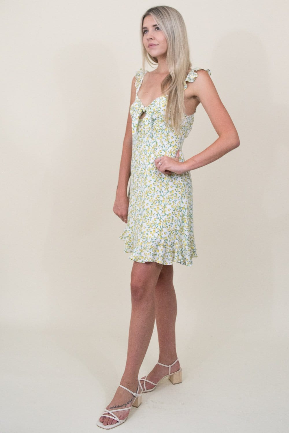 ASTR The Label Marla Mini Dress in Lemon Drop