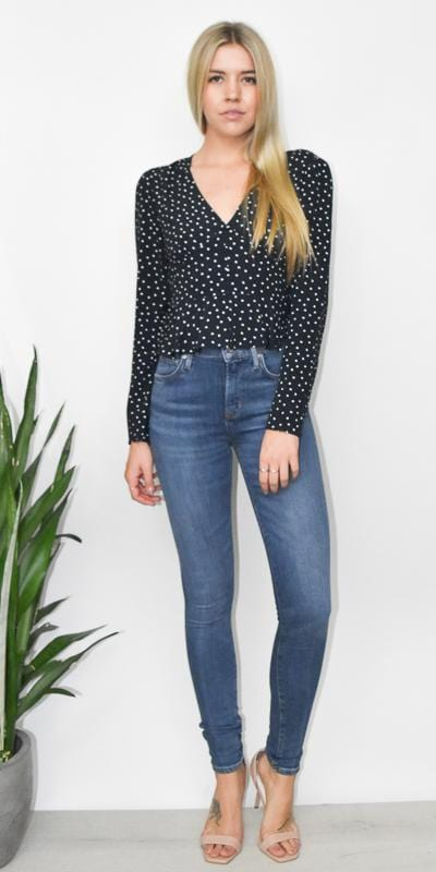 397c915ae2d The Fifth Label Amore Fitted Top in Navy   White Hearts