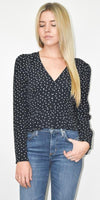 The Fifth Label Amore Fitted Top in Navy & White Hearts
