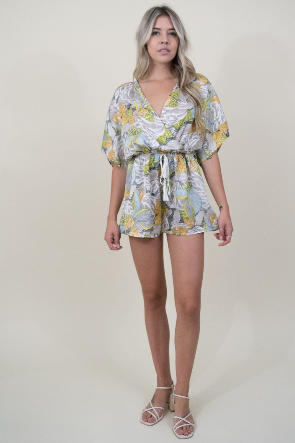 Trendy Scarf Print Romper in Lime Multi Print | Wild Dove Boutique | San Diego, CA
