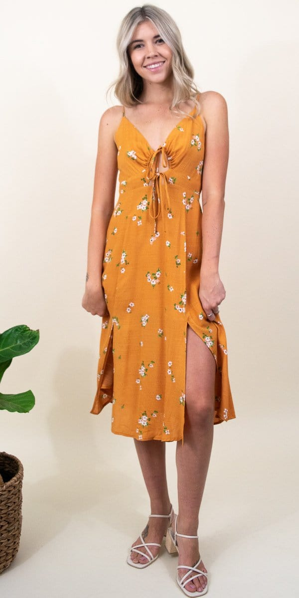 ASTR The Label Collin Dress in Apricot Floral