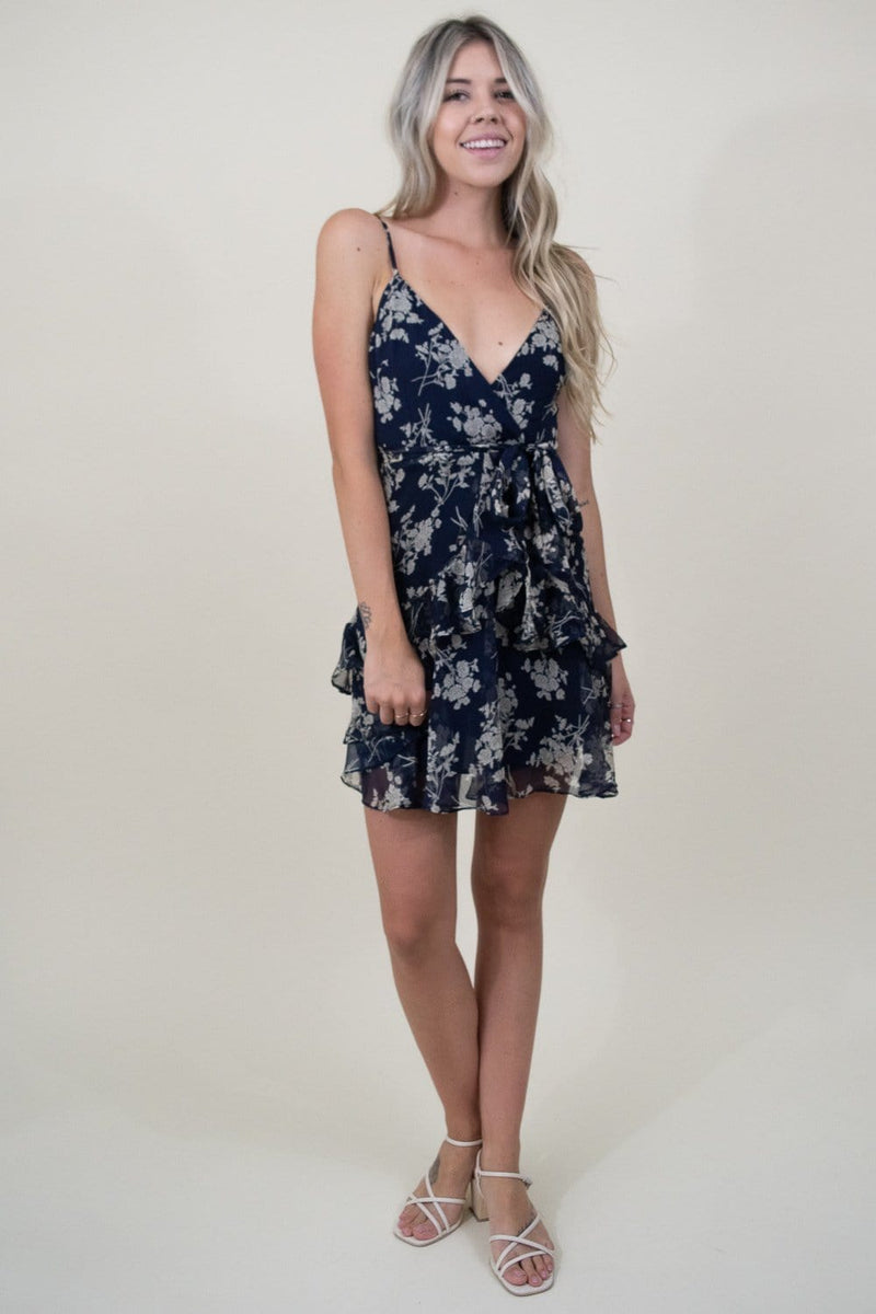 Le Reveur Mini Floral Party Dress in Navy Floral