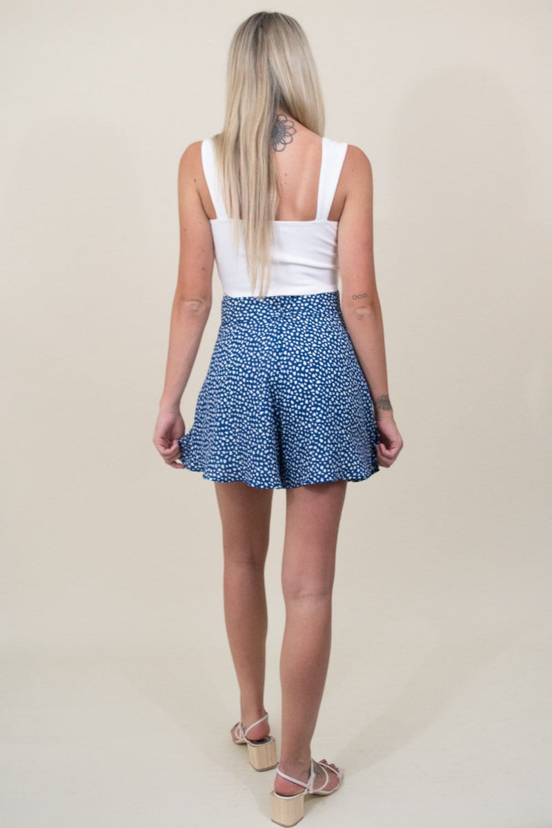 Moon River Pleated Wide Shorts W/ Belt in Blue Dot | Wild Dove Boutique | San Diego,CA