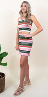 MINKPINK Open Air Stripe Mini Skirt in Multi Stripe