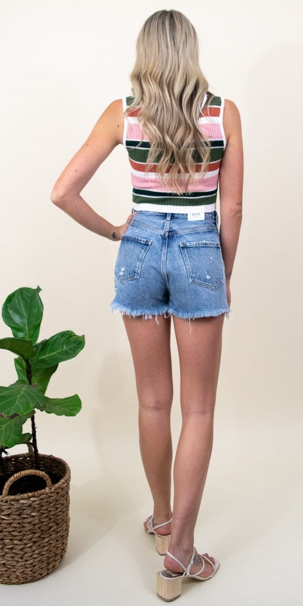 MINKPINK Open Air Stripe Crop Top in Multi Stripe