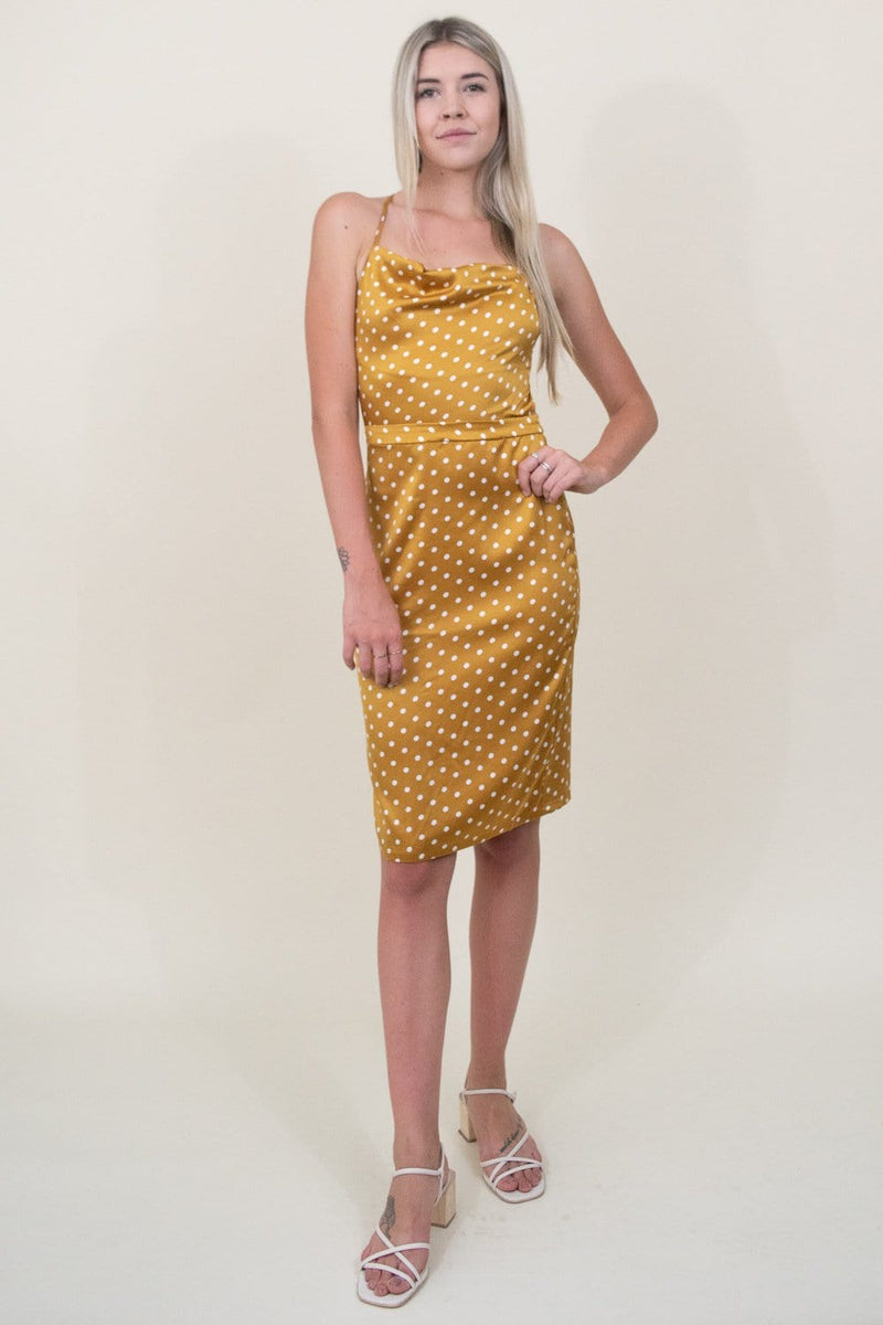 J.O.A. Polka Dot Cowl Open Back Satin Dress in Dijon Dot | Wild Dove Boutique | San Diego,CA