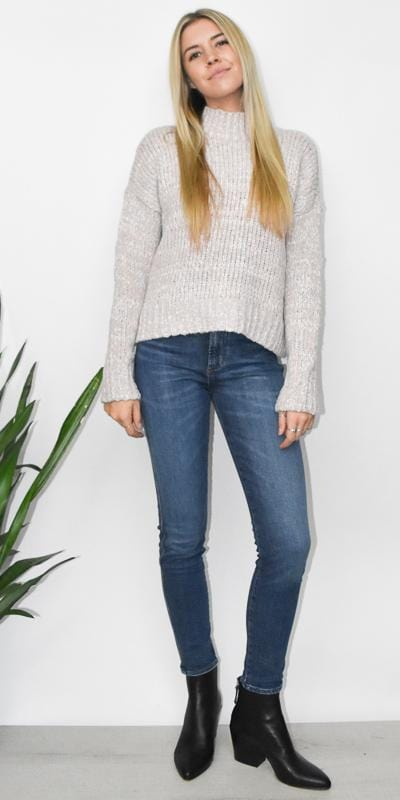 RD Style Chunky Mock Neck Sweater in Nude Twist Knit