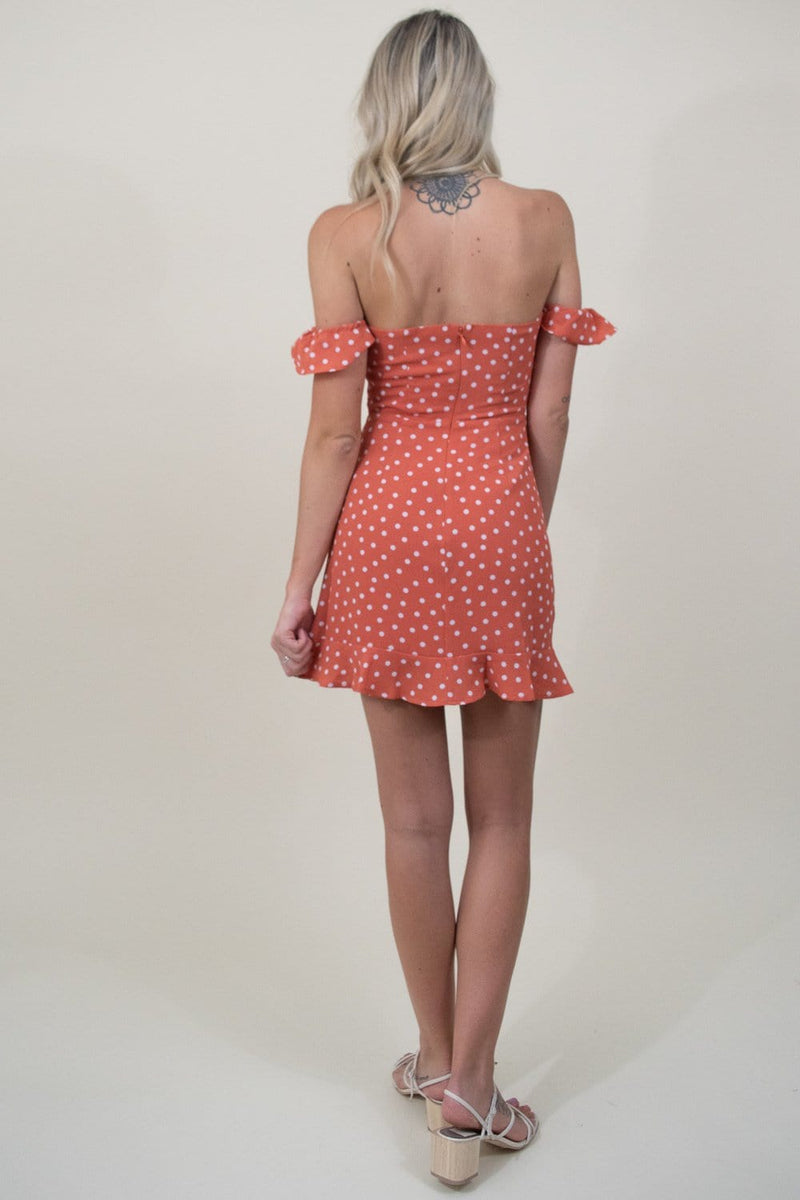 Sage the Label About Last Night Mini Dress in Melon Polka Dot
