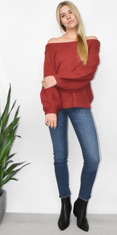 MINKPINK Always Sweater Top in Burnt Rose