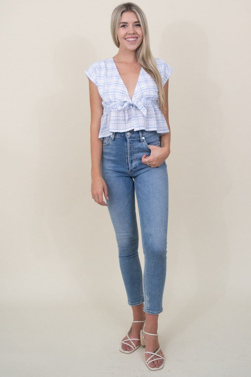 MINKPINK Supreme Check Top in Blue/White | Wild Dove Boutique | San Diego, CA