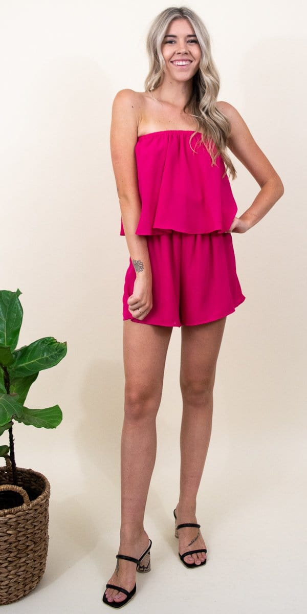 Show Me Your Mumu Thelma Romper in Hot Pink Crepe