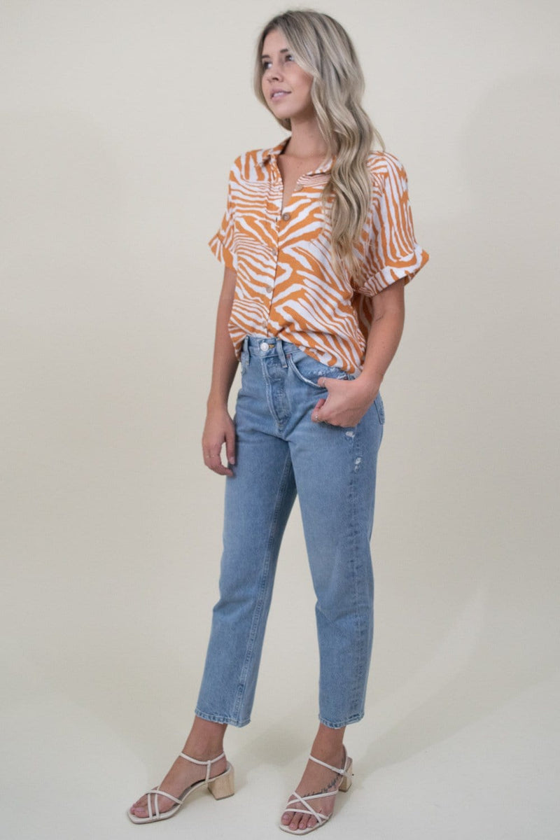 MINKPINK Pretty Wild Cropped Blouse in Multi