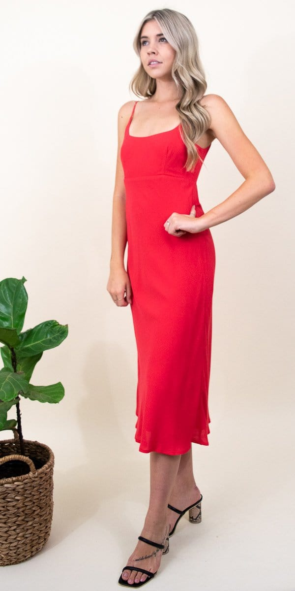 ASTR The Label Joan Dress in Vivid Red
