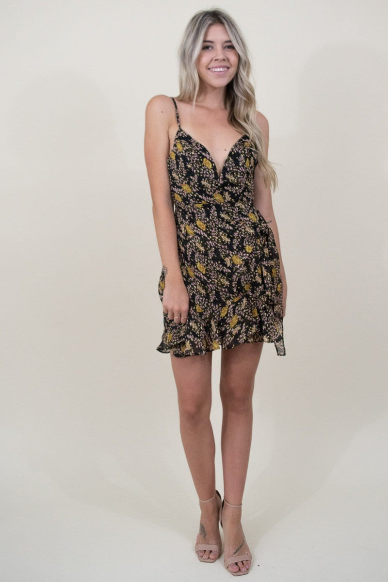 Le Reveur Floral Mini Party Dress in Black Floral Print