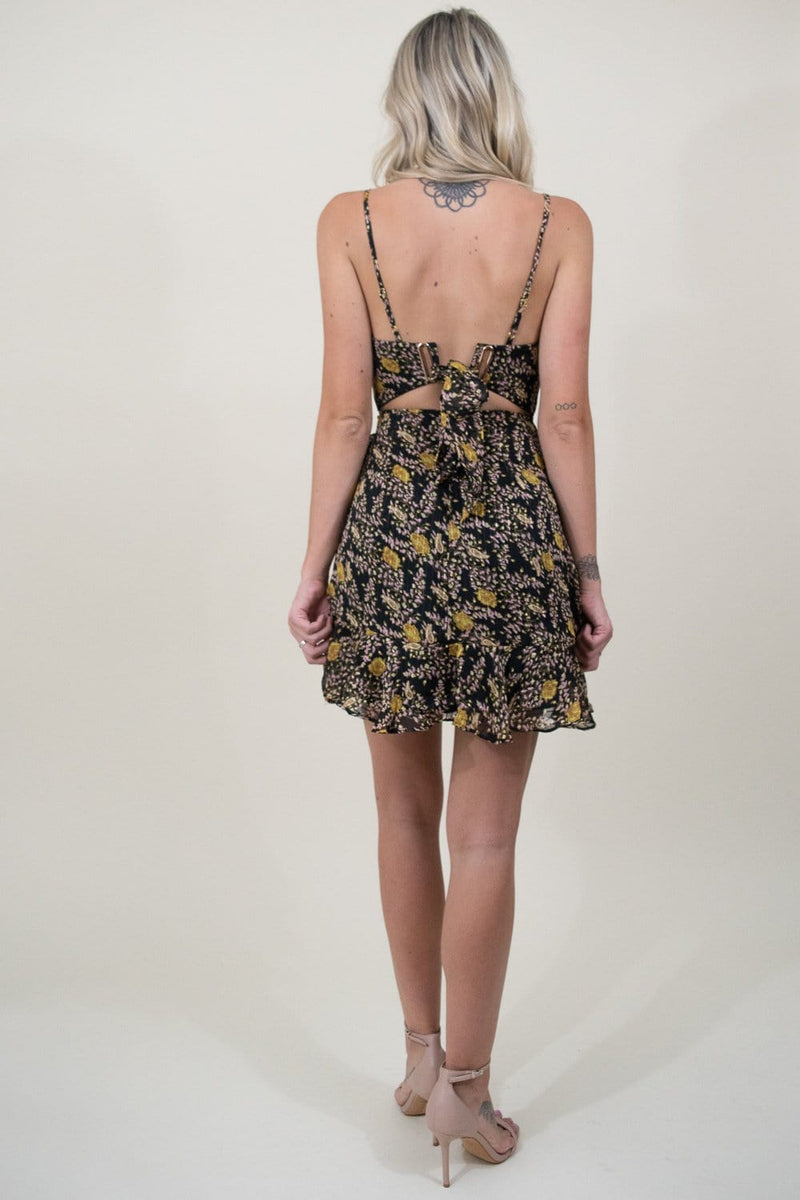 Le Reveur Floral Mini Party Dress in Black Floral Print | Wild Dove Boutique | San Diego, CA