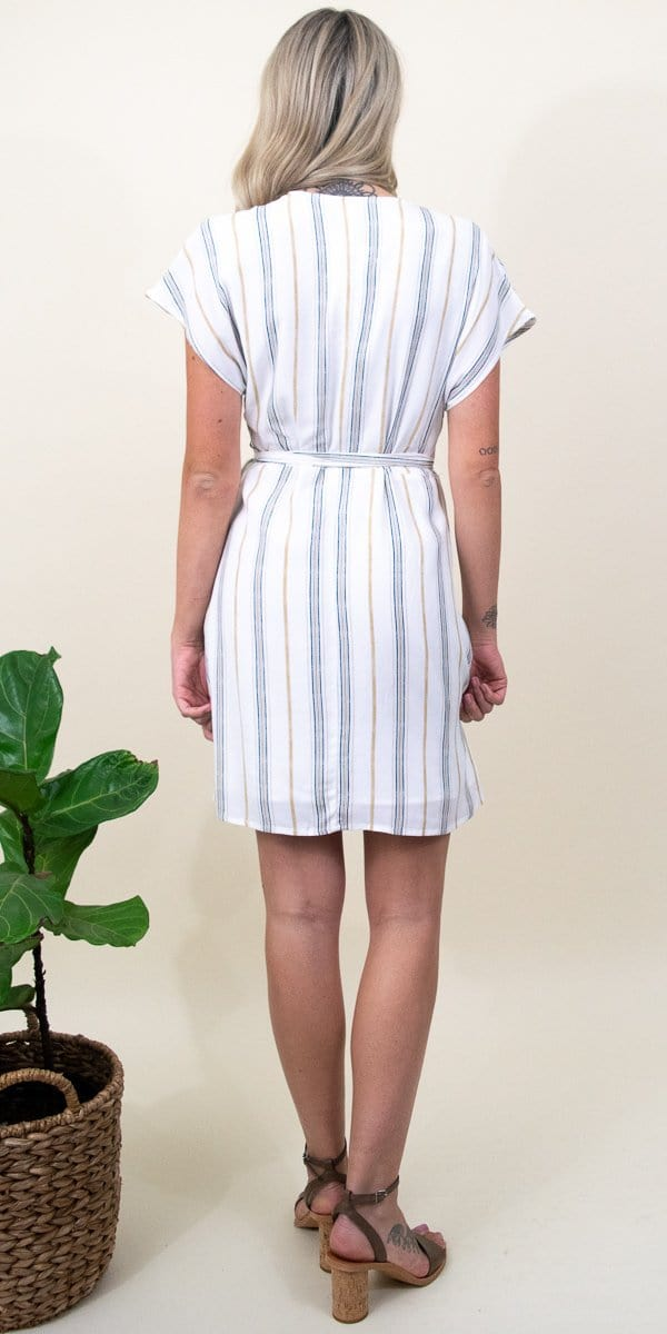 Gentle Fawn Brimmley Dress in White Textured Stripe