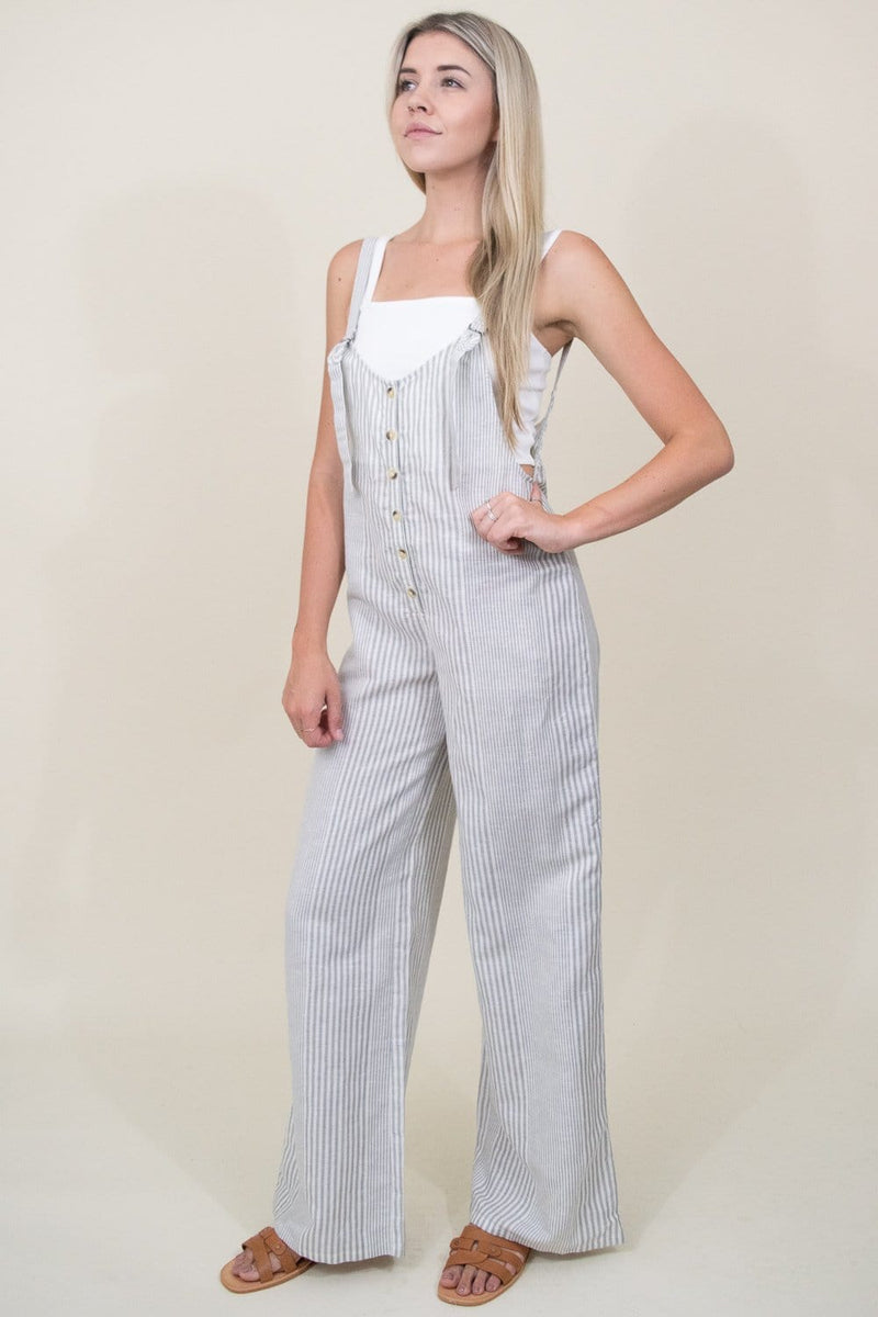 Amuse Society Fina Overall Woven Jumpsuit in Grey