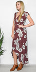 Sage the Label Carolina Dress in Garnet Red Floral