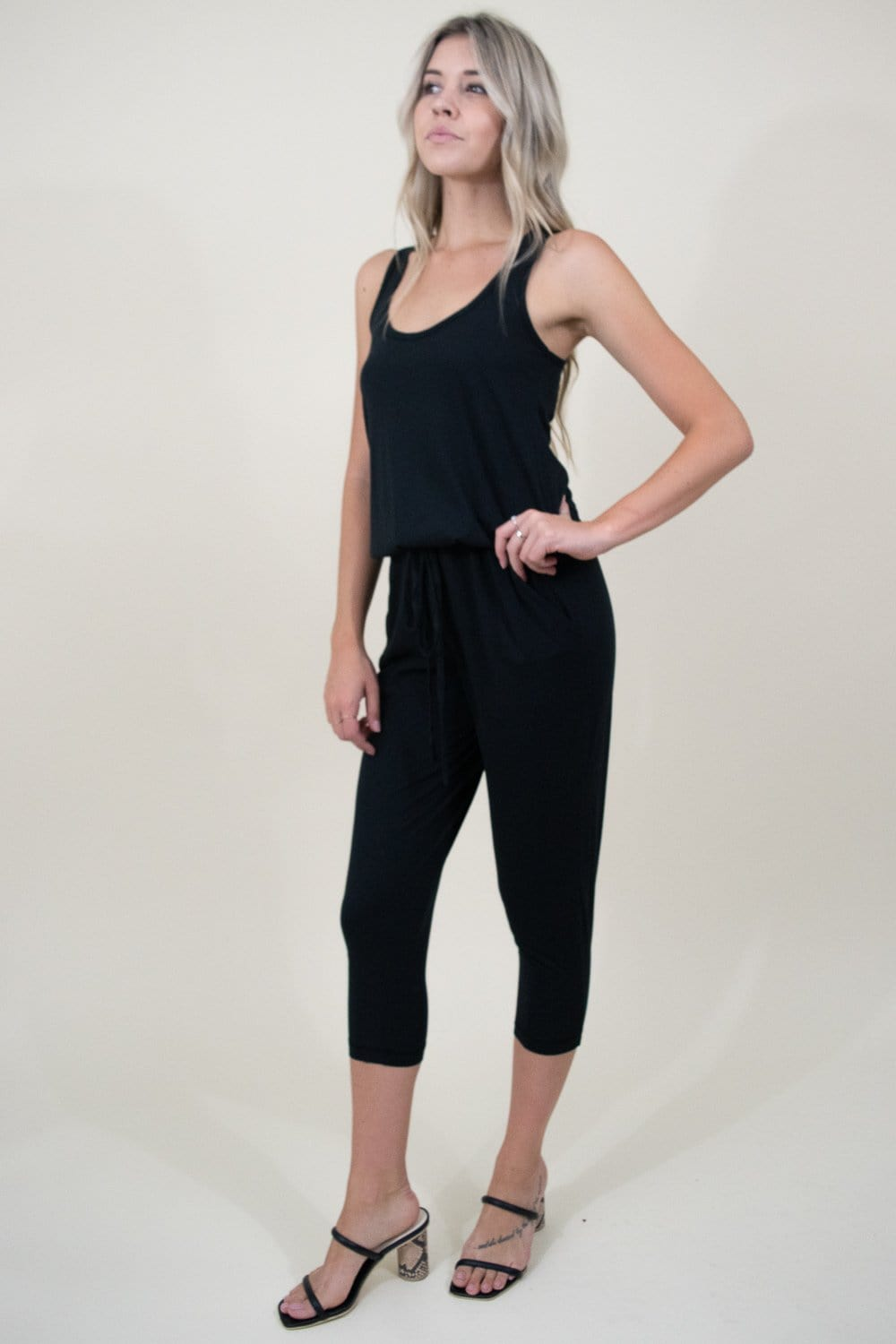 Bobi Rasor Back Drawstring Jumpsuit in Black
