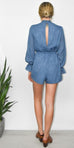 Lost + Wander Moon Child Romper in Monaco Blue