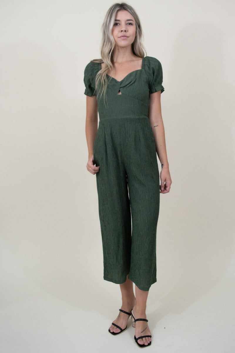 MINKPINK Twist Front Jumpsuit in Greenery