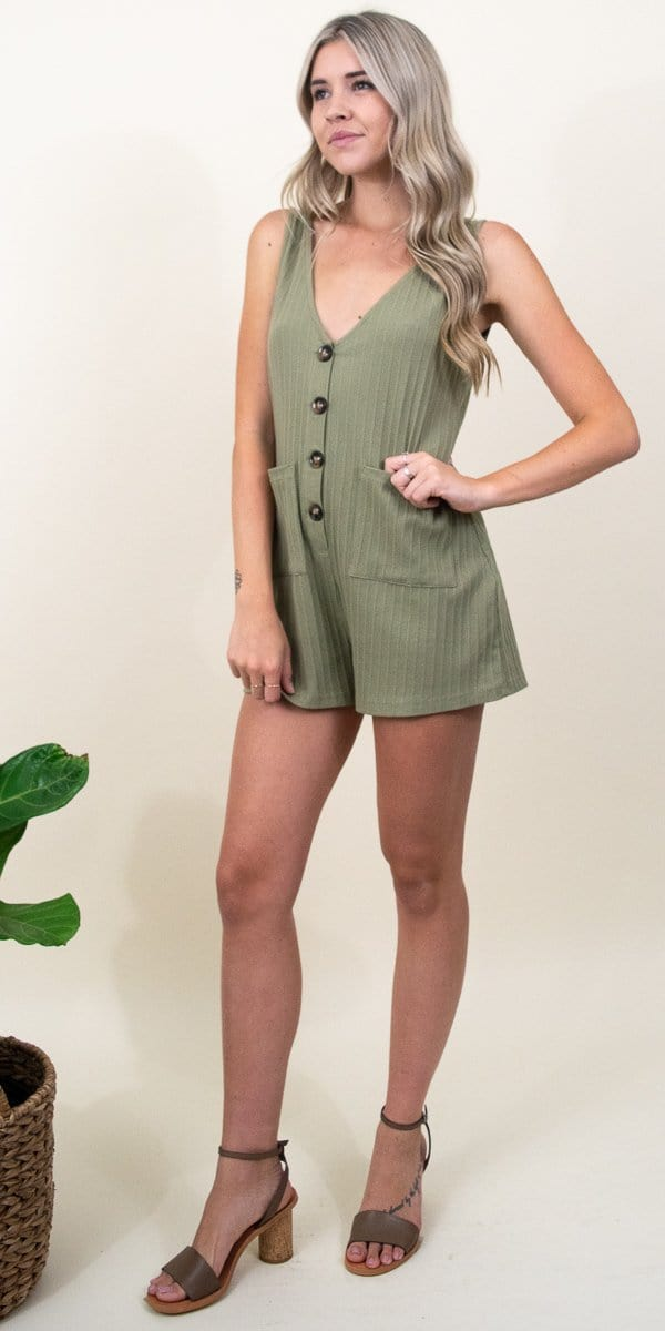 MINKPINK Button Up Playsuit in Khaki