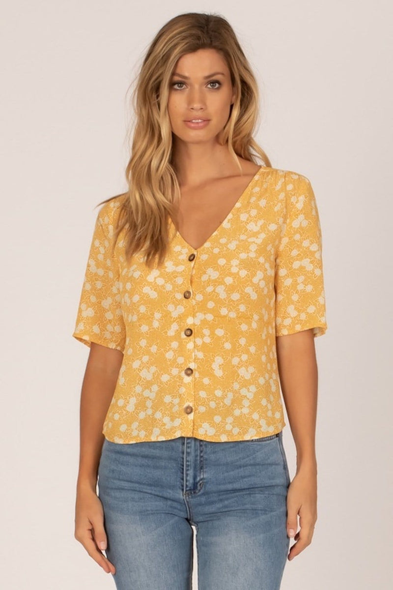 Amuse Society Allegra Woven Top Gold