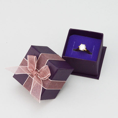 Purple Ring box with Ribbon - JewelryPackagingBox.com