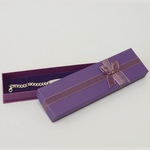 PURPLE BRACELET BOX WITH RIBBON /6 - JewelryPackagingBox.com