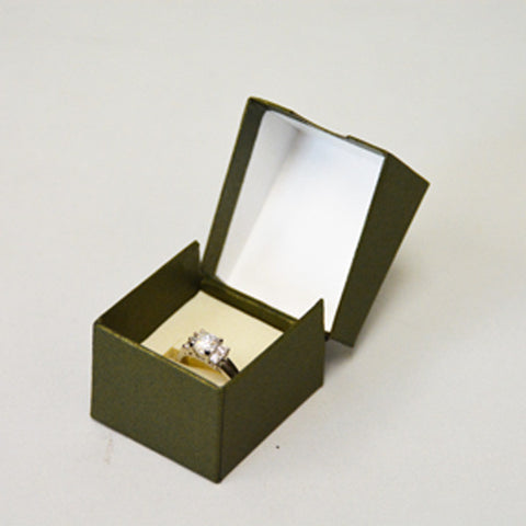 Olive Green Paper Ring Box - JewelryPackagingBox.com