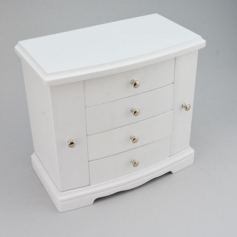 "White Wood Jewelry Box 10"" x 5 1/8"" x 9 1/2"" high - JewelryPackagingBox.com"