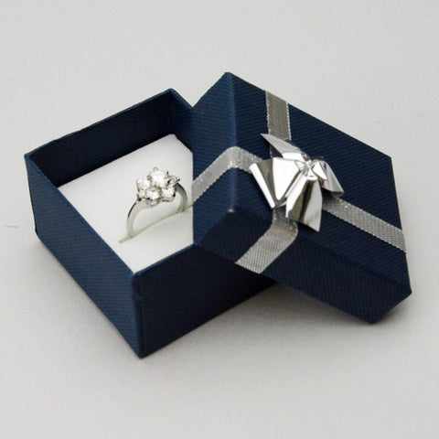 Ring Box with Silver Bow - JewelryPackagingBox.com