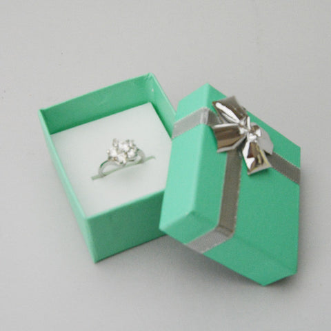 Teal Blue Ring Box with Silver Bow - JewelryPackagingBox.com