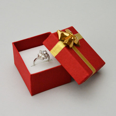 Ring Box with Gold Bow - JewelryPackagingBox.com