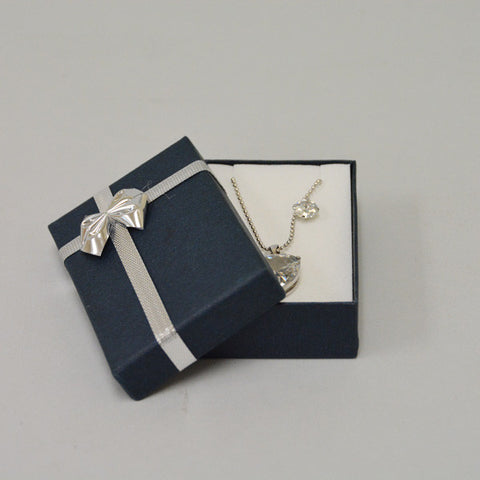 Blue Pendant Box with Silver Bow - JewelryPackagingBox.com