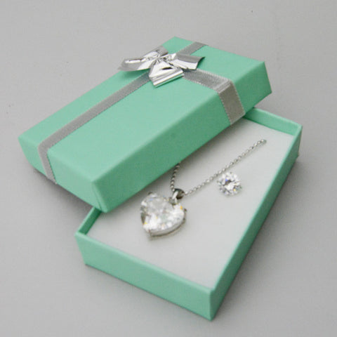 Teal Blue Pendant & Earring Box with Silver Bow - JewelryPackagingBox.com