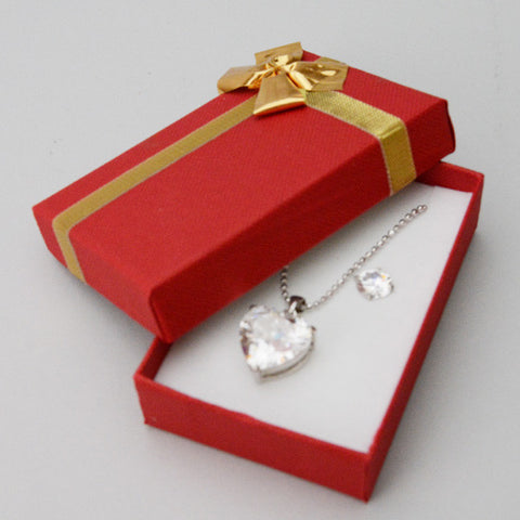 Red Earring & Pendant Box with Gold Bow - JewelryPackagingBox.com