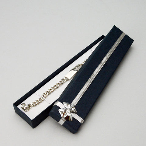 Bracelet Box with Silver Bow - JewelryPackagingBox.com