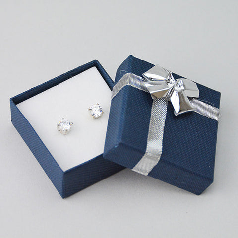 Earring Box With Silver Plastic Bow - JewelryPackagingBox.com