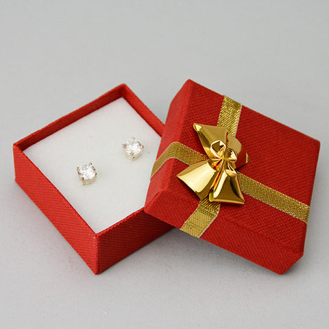 Earring Box with Gold Bow - JewelryPackagingBox.com