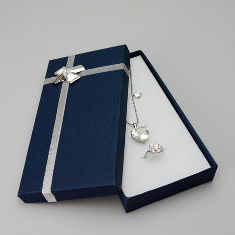Blue Combo Box with Silver Bow - JewelryPackagingBox.com