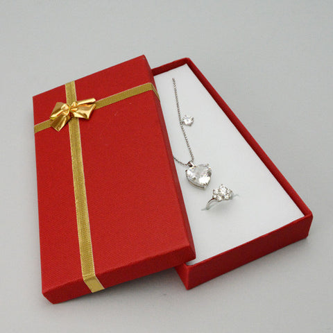 Red Combo Box with Gold Bow - JewelryPackagingBox.com